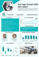 One Pager Growth Fund Fact Sheet Presentation Report Infographic PPT PDF Document