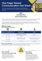 One Pager Hazard Communication Fact Sheet Presentation Report Infographic PPT PDF Document