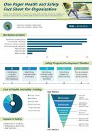 One Pager Health And Safety Fact Sheet For Organization Presentation Report Infographic PPT PDF Document
