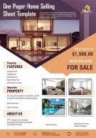 One Pager Home Selling Sheet Template Presentation Report Infographic PPT PDF Document