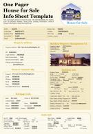 One Pager House For Sale Info Sheet Template Presentation Report Infographic Ppt Pdf Document