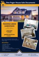 One Pager House Sale Documents Presentation Report Infographic PPT PDF Document