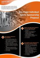 One Pager Individual Sports Sponsorship Proposal Presentation Report Infographic PPT PDF Document