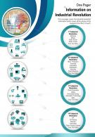 One Pager Information On Industrial Revolution Presentation Report Infographic PPT PDF Document