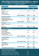 One Pager Inventory Data Balance Sheet Presentation Report Infographic PPT PDF Document