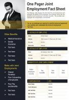 One Pager Joint Employment Fact Sheet Presentation Report Infographic PPT PDF Document