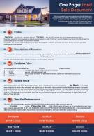 One Pager Land Sale Document Presentation Report Infographic PPT PDF Document