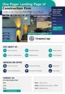 One Pager Landing Page Of Construction Firm Presentation Report Infographic PPT PDF Document