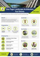 One Pager Landscape Architecture Fact Sheets Presentation Report Infographic PPT PDF Document