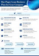 One Pager Lean Business Plan For Gear Company Presentation Report Infographic PPT PDF Document