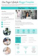 One Pager Lifestyle Blogger Template Presentation Report Infographic PPT PDF Document