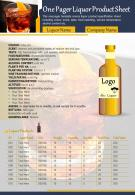 One Pager Liquor Product Sheet Presentation Report Infographic PPT PDF Document
