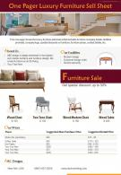 One Pager Luxury Furniture Sell Sheet Presentation Report Infographic PPT PDF Document