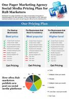 One Pager Marketing Agency Social Media Pricing Plan For B2B Marketers Report Infographic PPT PDF Document