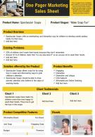 One Pager Marketing Sales Sheet Presentation Report Infographic PPT PDF Document