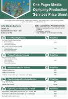 One Pager Media Company Production Services Price Sheet Presentation Report Infographic PPT PDF Document