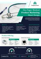 One Pager Medical Product Marketing Sheet Design Presentation Report Infographic PPT PDF Document