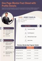 One Pager Mentoring Fact Sheet Presentation Report Infographic PPT PDF Document