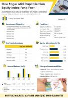 One Pager Mid Capitalization Equity Index Fund Fact Sheet Presentation Report Infographic PPT PDF Document