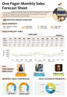 One Pager Monthly Sales Forecast Sheet Presentation Report Infographic PPT PDF Document