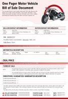 One Pager Motor Vehicle Bill Of Sale Document Presentation Report Infographic Ppt Pdf Document