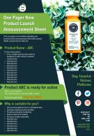 One Pager New Product Launch Announcement Sheet Presentation Report Infographic PPT PDF Document