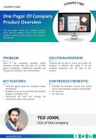 One Pager Of Company Product Overview Presentation Report PPT PDF Document