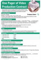 One Pager Of Video Production Contract Presentation Report Infographic PPT PDF Document