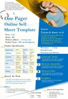One Pager Online Sell Sheet Template Presentation Report Infographic PPT PDF Document
