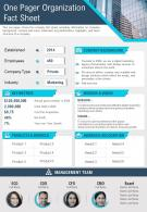 One Pager Organization Fact Sheet Template Presentation Report Infographic PPT PDF Document