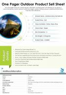 one pager outdoor product sell sheet presentation report infographic PPT PDF document