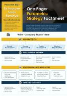 One Pager Parametric Strategy Fact Sheet Presentation Report Infographic PPT PDF Document