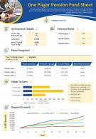 One Pager Pension Fund Sheet Presentation Report Infographic PPT PDF Document