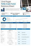 One Pager Petty Cash Fund Balance Sheet Presentation Report Infographic PPT PDF Document