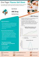 One Pager Pharma Sell Sheet Presentation Report Infographic PPT PDF Document