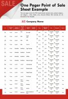 One Pager Point Of Sale Sheet Example Presentation Report Infographic PPT PDF Document