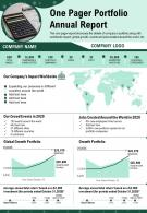 One Pager Portfolio Annual Report Presentation Report Infographic PPT PDF Document