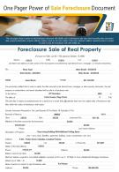 One Pager Power Of Sale Foreclosure Document Presentation Report Infographic PPT PDF