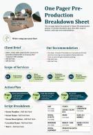 One Pager Pre Production Breakdown Sheet Presentation Report Infographic PPT PDF Document