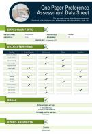 One Pager Preference Assessment Data Sheet Presentation Report Infographic PPT PDF Document