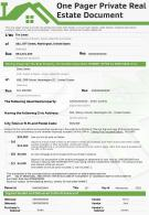 One Pager Private Real Estate Document Presentation Report Infographic PPT PDF Document