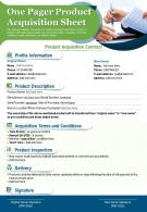 One Pager Product Acquisition Sheet Presentation Report Infographic Ppt Pdf Document