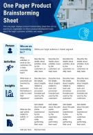 One Pager Product Brainstorming Sheet Presentation Report Infographic PPT PDF Document