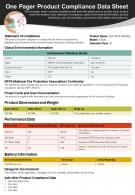 One Pager Product Compliance Data Sheet Presentation Report Infographic PPT PDF Document