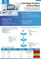 One Pager Product Control Sheet Presentation Report Infographic PPT PDF Document