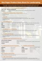 One Pager Product Data Sheet For Landscaping Presentation Report Infographic PPT PDF Document