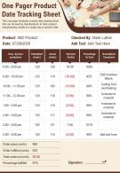 One Pager Product Date Tracking Sheet Presentation Report Infographic PPT PDF Document