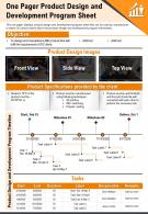 One Pager Product Design And Development Program Sheet Presentation Report Infographic PPT PDF Document