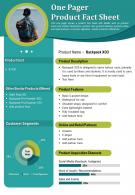 One Pager Product Fact Sheet Presentation Report Infographic PPT PDF Document
