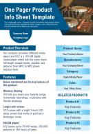 One Pager Product Info Sheet Template Presentation Report Infographic PPT PDF Document